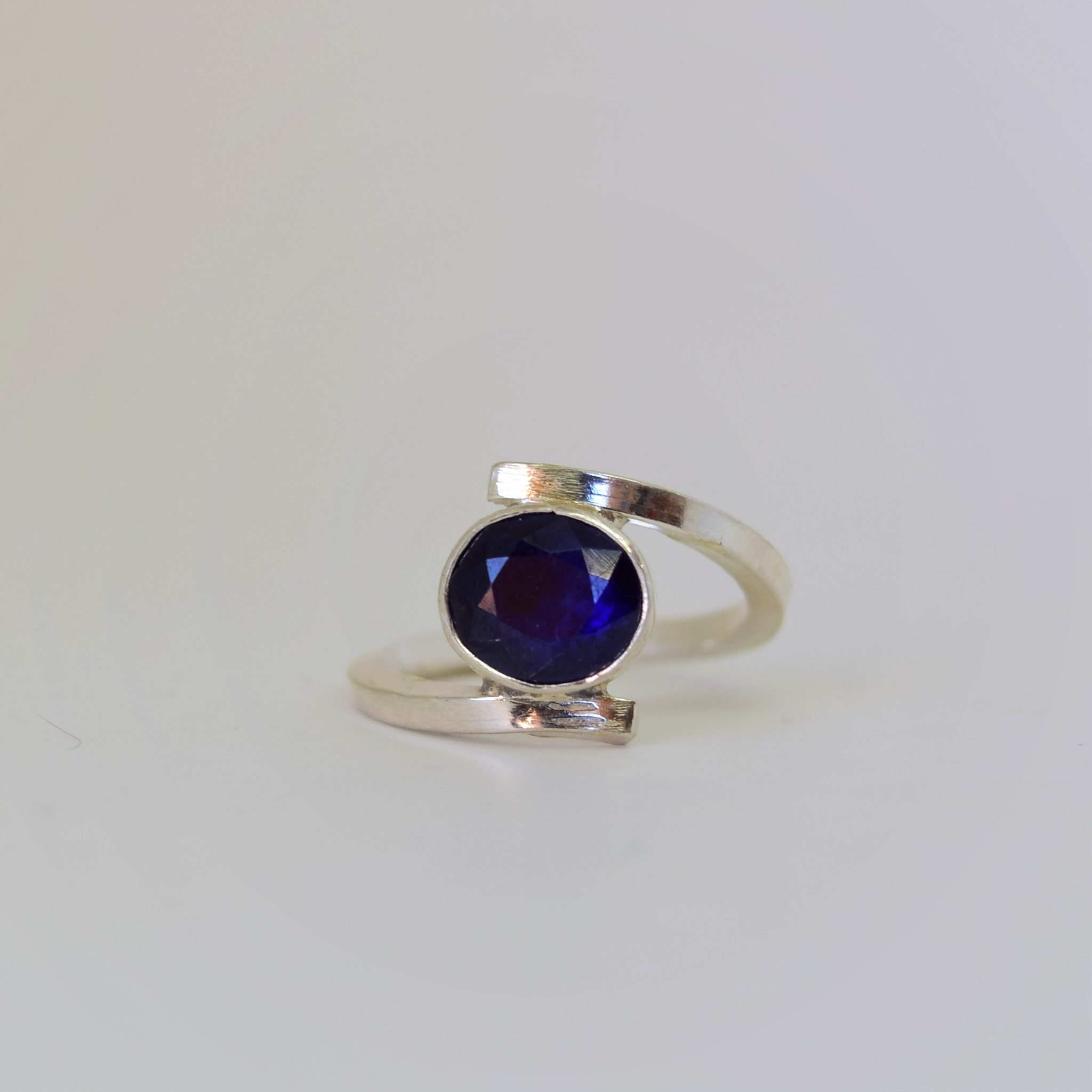 Sterling Silver, Sapphire, Split Band, Ring.