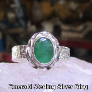 Rings-Sterling Silver-real Emeral, Ruby and Sapphire - emerald ring 1a