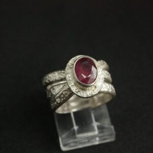 Rings-Sterling Silver-real Emeral, Ruby and Sapphire - ruby 3
