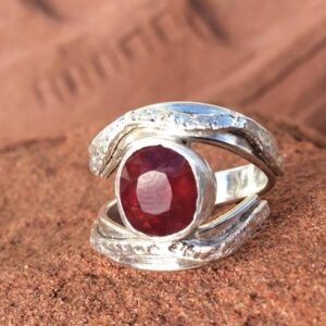 Rings-Sterling Silver-real Emeral, Ruby and Sapphire - ruby 5