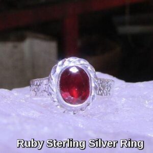 Rings-Sterling Silver-real Emeral, Ruby and Sapphire - ruby 7