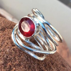 Rings-Sterling Silver-real Emeral, Ruby and Sapphire - ruby 8