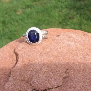 Rings-Sterling Silver-real Emeral, Ruby and Sapphire - saphire stone 2