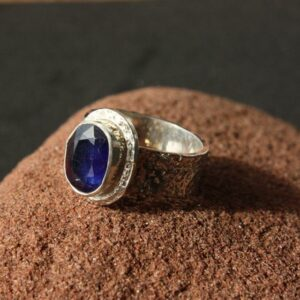 Rings-Sterling Silver-real Emeral, Ruby and Sapphire - saphire stone 5