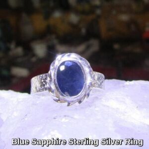 Rings-Sterling Silver-real Emeral, Ruby and Sapphire - saphire stone 6