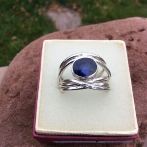 Rings-Sterling Silver-real Emeral, Ruby and Sapphire - saphire stone 7